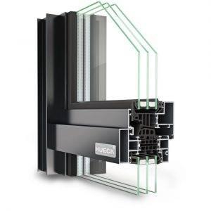 Fensterfassade HUECK Lambda WS 075 FC Die HUECK Aluminium-Fensterkonstruktion in Fassadenoptik bietet elegante Gestaltungsmöglichkeiten durch schmale Profilansichten und kombiniert die Vorteile einer Fensterkonstruktion mit der Optik einer schlanken Fassadenkonstruktion.